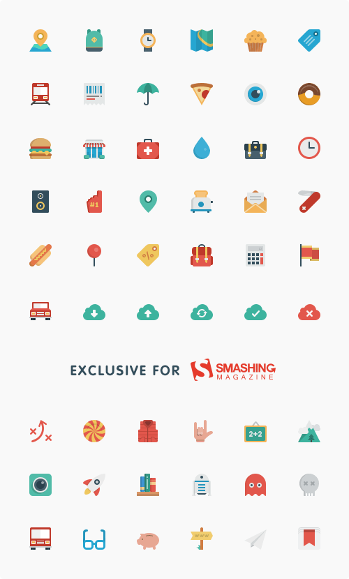54 gratis Flat Icon Set